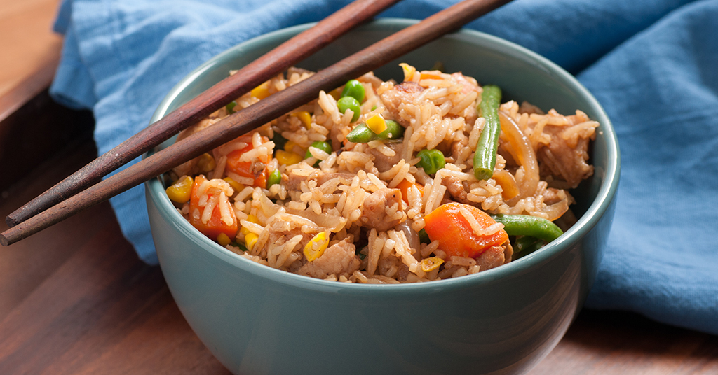 Rice wok, Chicken and vegetables